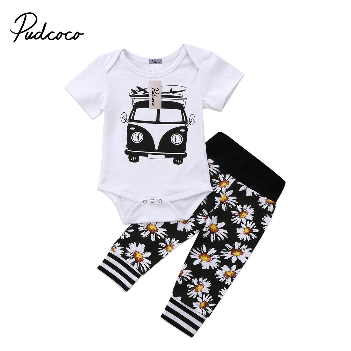 Pudcoco 2Pcs Newborn Baby Boy Girls Clothes Car Printed Bodysuit Sunflower Pants Outfits Set 6-24Months Helen115