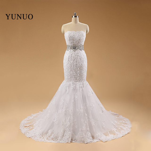 Hot Selling vestido noiva renda Lace Bridal Gowns Bead Cryatal Scoop ...