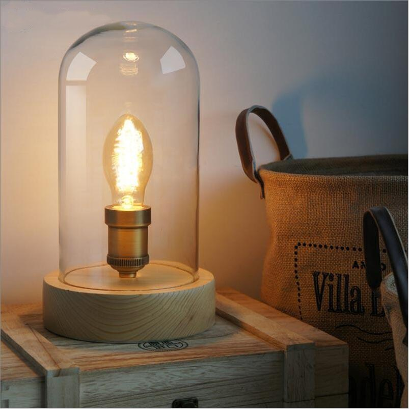 2017 FreeShipping Vintage Table Lamps Wood Personalized Desk Lamp With Glass Shade For Beside Home Decor For Bedroom Living Room american led vintage desk table lamp for bedroom living room led beside lamps lampara luminaira de mesa abajur para quarto