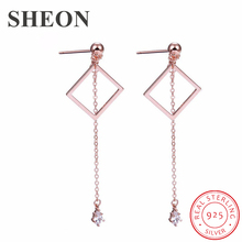 SHEON Authentic 925 Sterling Silver Square Geometry Tassel Clear CZ Long Stud Earrings For Women Jewelry Gift