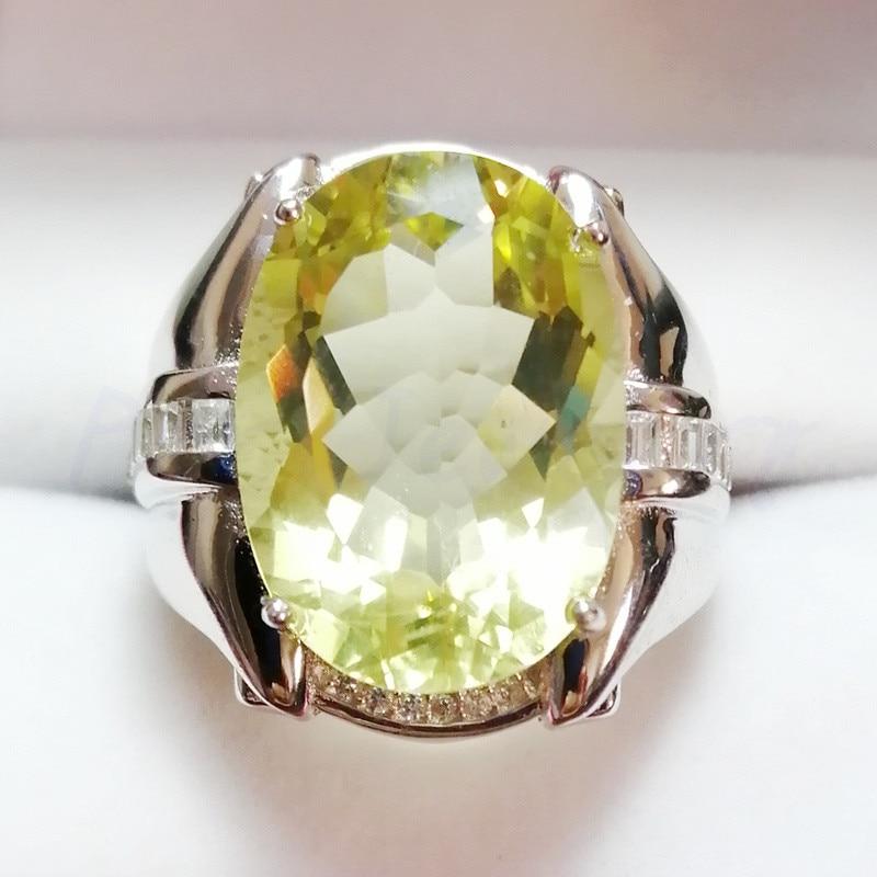 Natural Lemon Quartz 925 Sterling Silver Rings Silver Jewelry