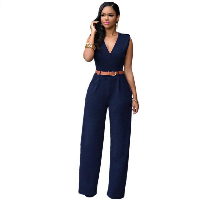 e86fcad536d6 2018 Sexy V-neck Vantage Sleeveless Jumpsuit Women Soild Black Wide Leg  Long Pants Romper with Belt Summer Elegant Overalls