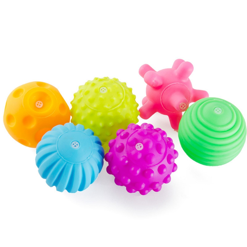6Pcs/Lot Textured Multi Color Ball Baby Sensory Develop Toy Baby Soft Handball Kids Baby Training Massage Balls Toys
