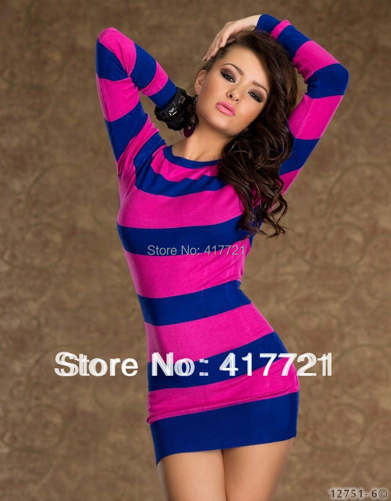 Free Shipping Ml17731 Sexy Club Wear Fashion Pink And Blue Stripes