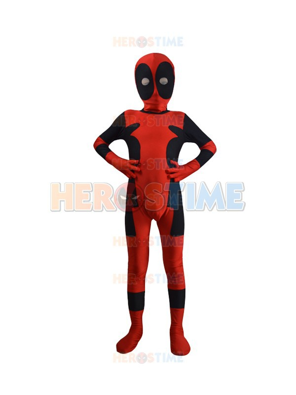 Classic Kids Deadpool Costume Spandex halloween cosplay fullbody child Deadpool Superhero costume Hot sale  free shipping