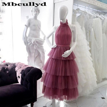 Mbcullyd Vintage High Neck Short Prom Dresses Tiered Tulle Ankle Length Pink White Evening Party Gowns For Women robe de soiree
