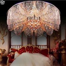 Современная Высокого класса в Европейском stylecircular Светодиодные Crystal Light спальня лампа ресторан освещение Потолочные Светильники wwy-0197