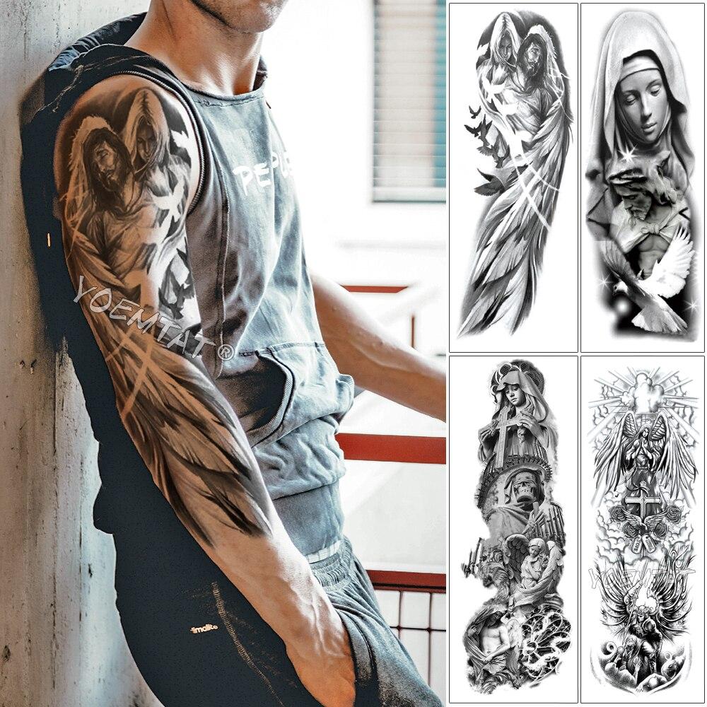 Large Arm Sleeve Tattoo Angel Wings Pigeon Jesus Waterproof Temporary Tattoo Sticker Holy Holiness Men Full Skull Totem Tattoo
