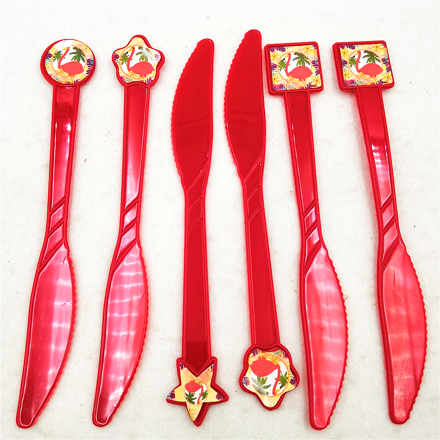 6pc set Plastics Knives Birthday Flamingo Party Supplies Cartoon Theme Decoration Baby Shower Festival For Kids Girls Boys Favor in Disposable Party Tableware from Home Garden
