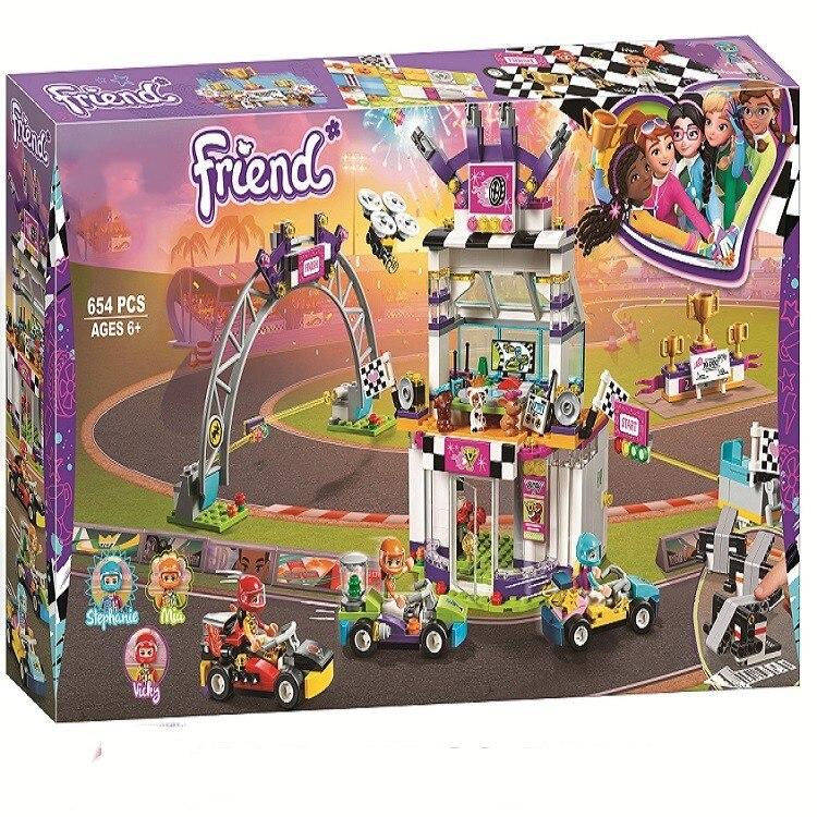 2019 Girl Friends Heartlake City The Big Go Kart Race Day Building Block Bricks Toys Compatible Friends 41352 Kids Gift