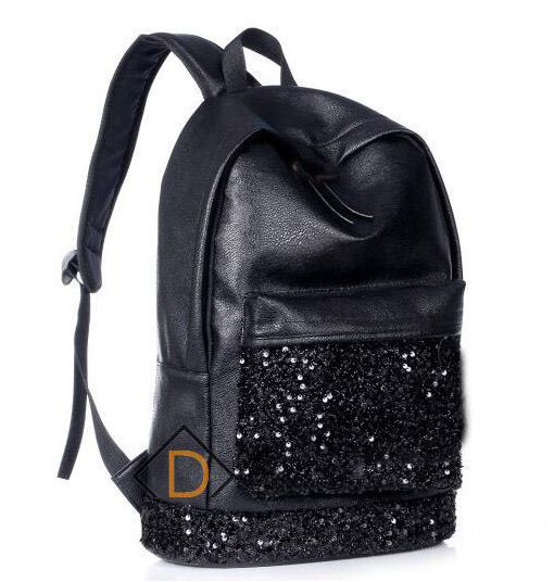 Hot Sale Casual Women's PU Black Backpack Girls School Bag Travel ...