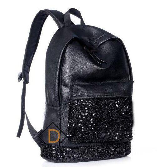 Hot Sale Casual Women's PU Black Backpack Girls School Bag Travel ...