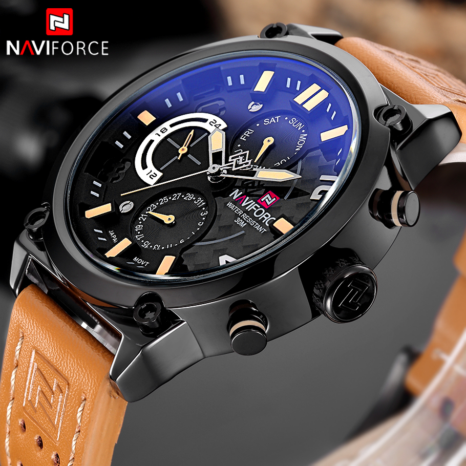 NAVIFORCE Luxury Brand Leather Analog Quartz Watches Men Date Week Fashion Military Wristwatches Male Clock Relogio Masculino
