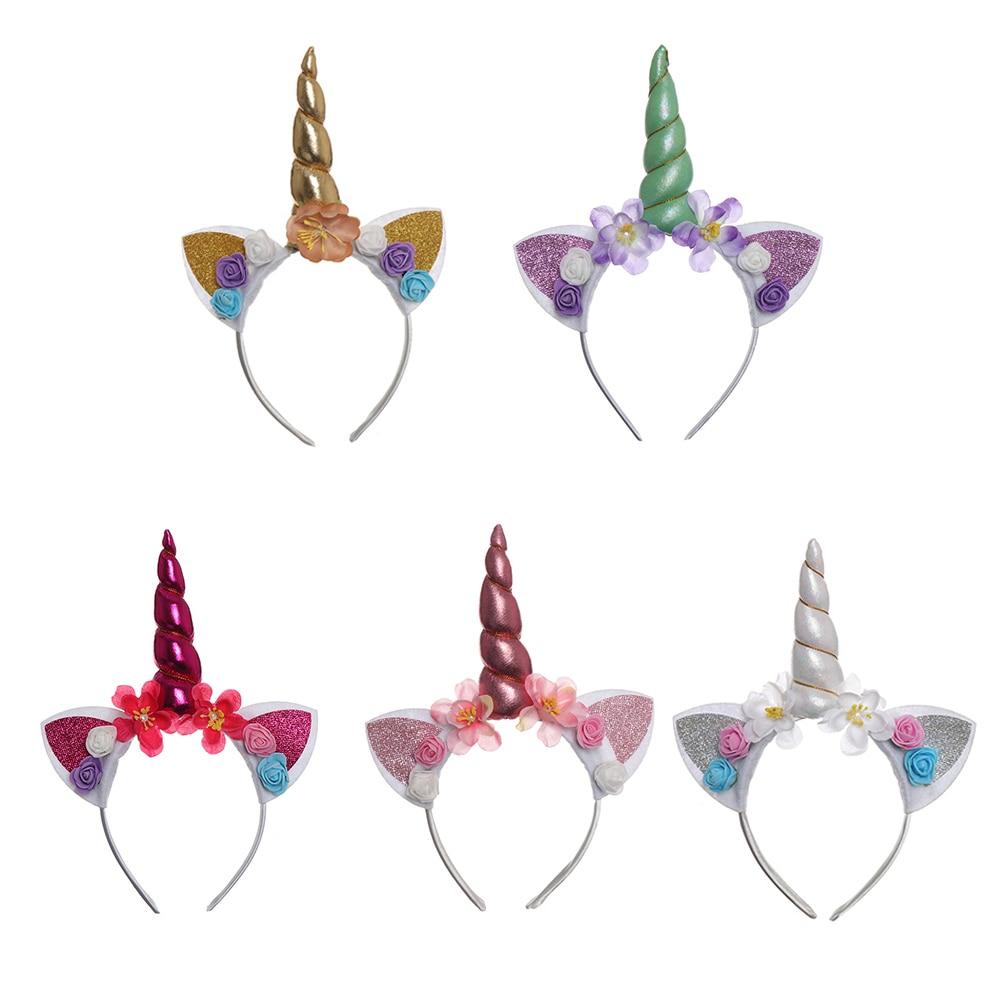 2019 New Fashion 1 Pcs Handmade Kids Unicorn Party Gold Headband Horn Gold Glittery Beautiful Headwear Hairband Hair Accessories