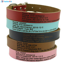 Hot Sale Pet Dog Cat Personalized Collar Engrave Any Language Information Pet Dog Collar Lead Leash