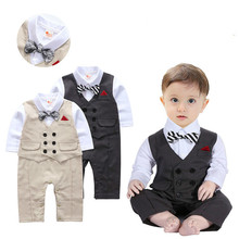 Baby Gentleman Romper Newborn Boys Clothes Bow Ties Pocket Overall Jumpsuits Birthday Party Gifts