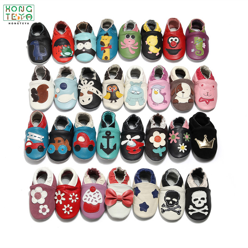 Cartoon Printing Genuine Leather Soft Baby Shoes Newborn Baby Boys Girls Infant Shoes Slippers Skid-Proof Baby Shoes For 0-24M