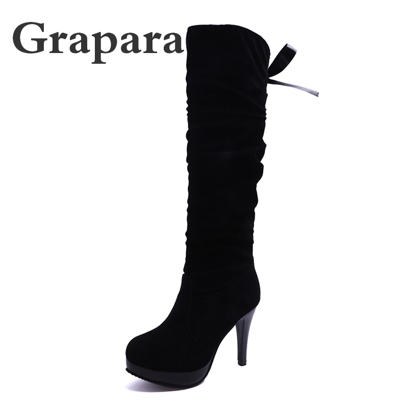 Winter Boots Thick High Heels Women Boots Plush Round Toe Platform Shoes Woman Slip On Over The Knee Thigh High Boots Grapara enmayer high heels charms shoes woman classic black shoes round toe platform zippers knee high boots for women motorcycle boots