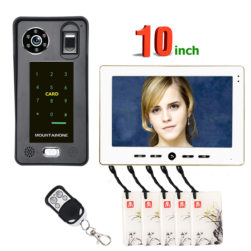 10inch Fingerprint IC Card Video Door Phone Intercom Doorbell With  Door Access Control System Night Vision Security CCTV Camera