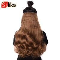 Silke 190 g/pz Clip nelle Estensioni Dei Capelli 24 pollice Mossi Sintetica capelli 17 Colori Premium Fibra di Temperatura di Calore per Le Donne 4 clip