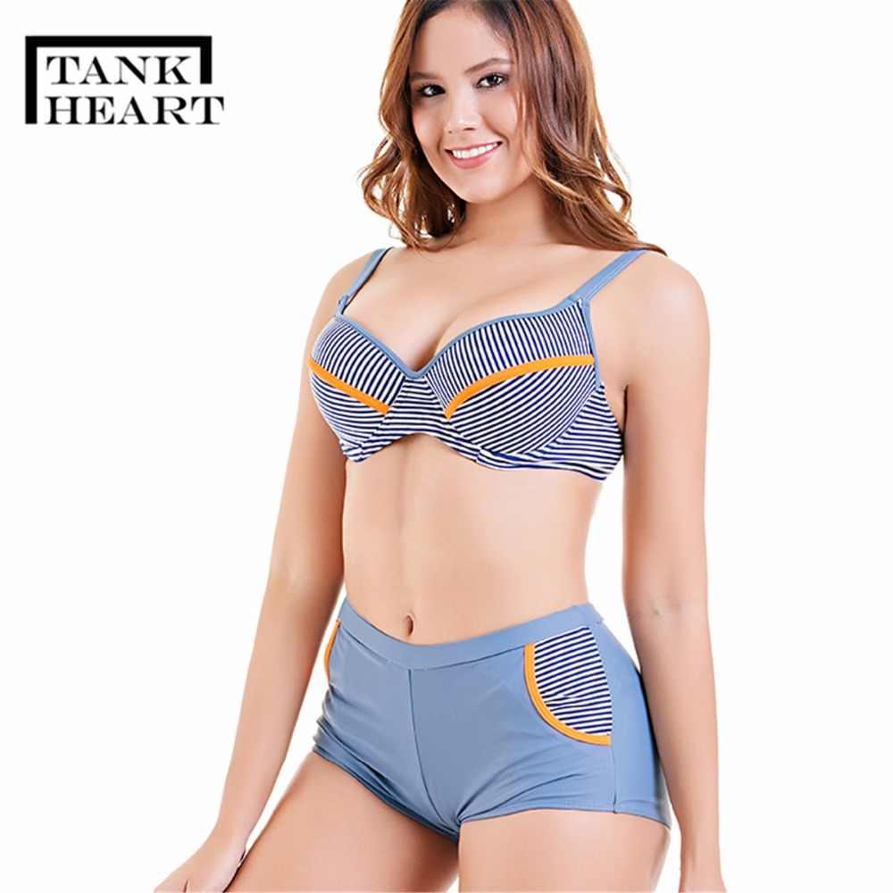 a17dbde33b Tank Heart Sport V-Deep Female Swimsuit Push Up Bather Women Big Breast  Bust Bikini