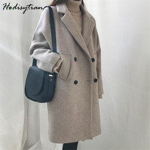 Hodisytian Winter Fashion Women Wool Blends Loose Double Breasted Coat Casual Elegant Cotton Solid Thick Femme Cashmere Overcoat