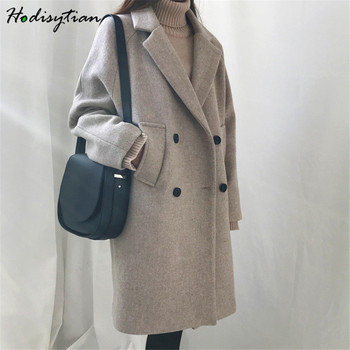 Hodisytian Winter Fashion Women Wool Blends Loose Double Breasted Coat Casual Elegant Cotton Solid Thick Femme Cashmere Overcoat amii casual women woolen coat 2018 winter turn down collar solid double breasted female wool blends