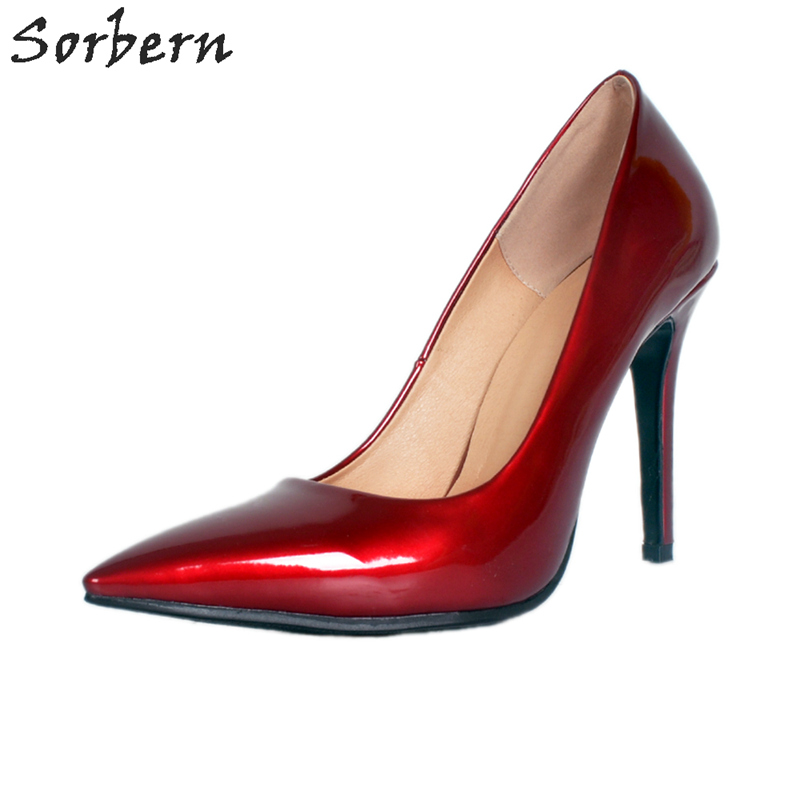 Sorbern Wine Red Pointed Toe Women Pump Shoes Ladies Slip On Womans Shoes Fashions 2018 Custom Colors Ladies Party Shoes BlackSorbern Wine Red Pointed Toe Women Pump Shoes Ladies Slip On Womans Shoes Fashions 2018 Custom Colors Ladies Party Shoes Black