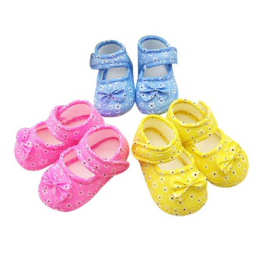 2019 ทารกแรกเกิดเด็กทารกเด็กรองเท้าเด็กทารก Bowknot การพิมพ์นุ่มลื่นรองเท้า Crib รองเท้า
