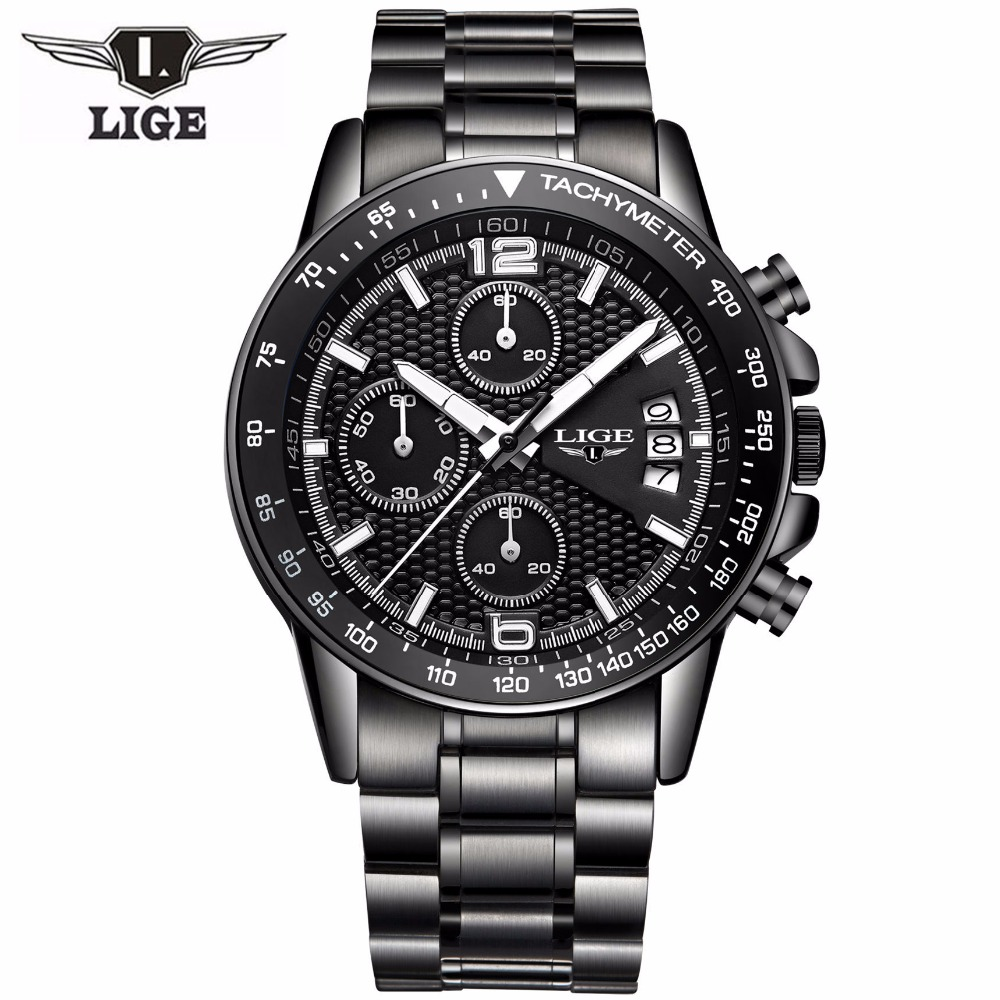 Brand lige 2016 new men 39 s watches quartz watch men real three dial luminous waterproof 30m for Lige watches