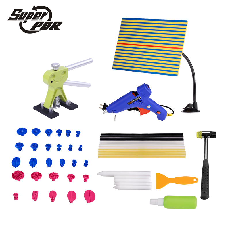 Super PDR Car body Dent removal repair hand Tools kit  dent lifter glue gun glue sticks yellow line board rubber hammer PDR tool super pdr slide hammer glue gun glue sticks dent repair tools dent lifter car dent removal tool set 29pcs