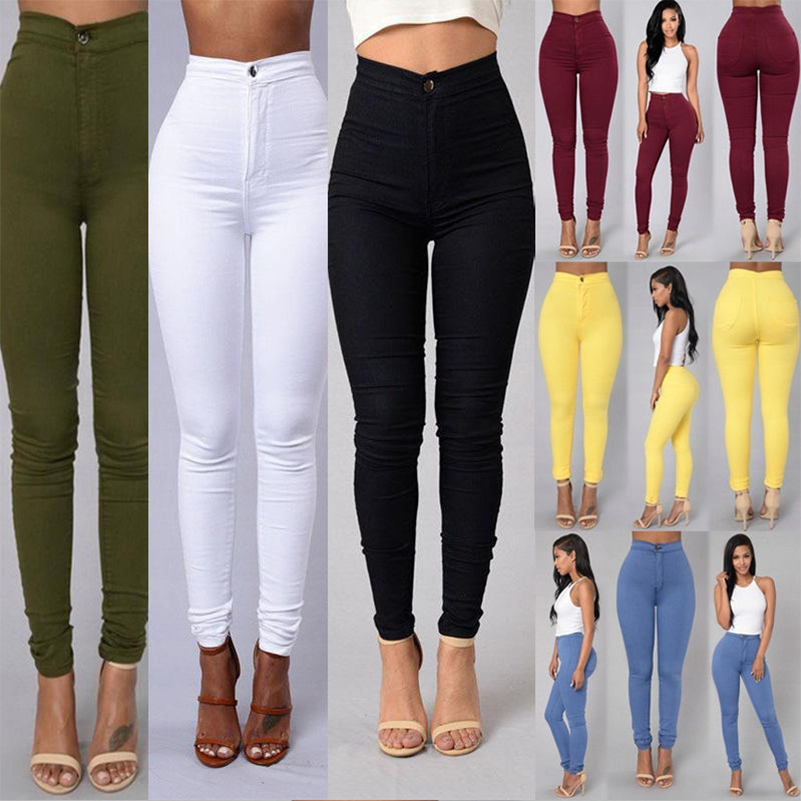 2019 Fashion Skinny Jeans Woman Denim Trousers Solid Slim Bodycon High Waist Wash Plus Size Pencil Pants Female Casual S-XXXL(China)