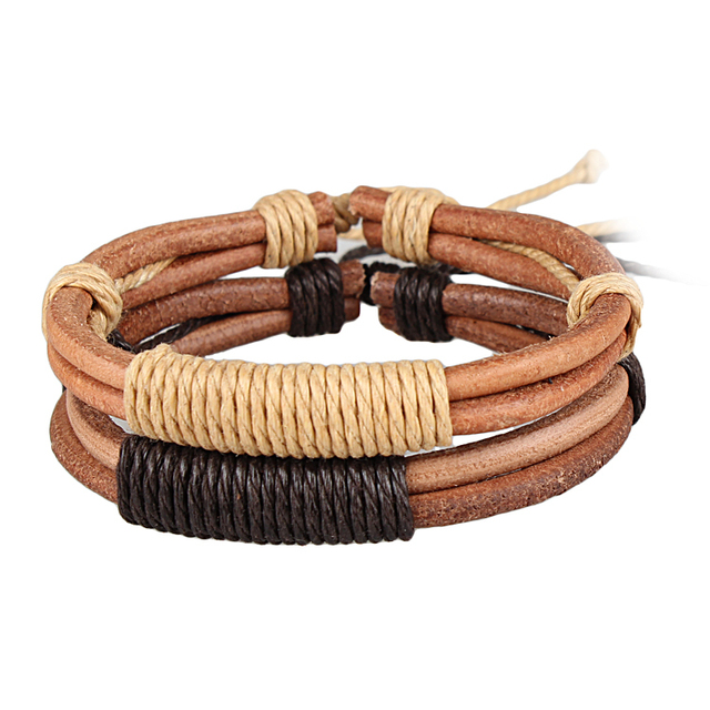 punk fashion cuff knitted charm leather bracelet men multi-layer strap casual lovers jewelry bracelets & bangles for women