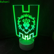 World of Warcraft 3D Lamp The Alliance Tribal Signs Remote Control Night Light USB Decorative Table Kids Christmas Gifts