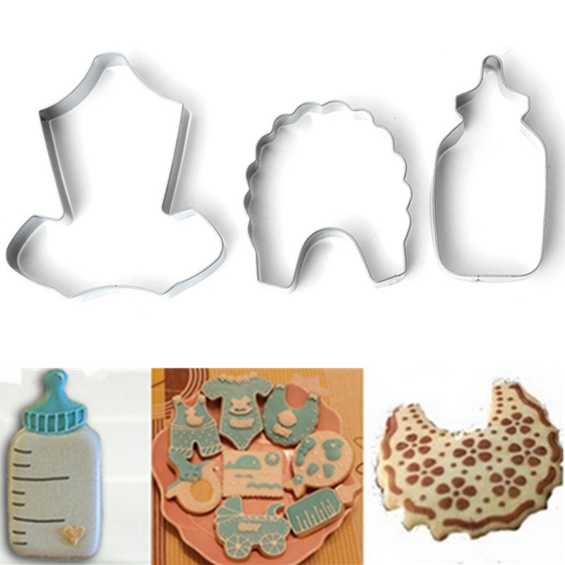 3pcs/set Metal Stainless Steel of Baby Series Bib Feeding Bottle Clothing Cookie Cutters Fondant Biscuits Tools Kitchen Baking