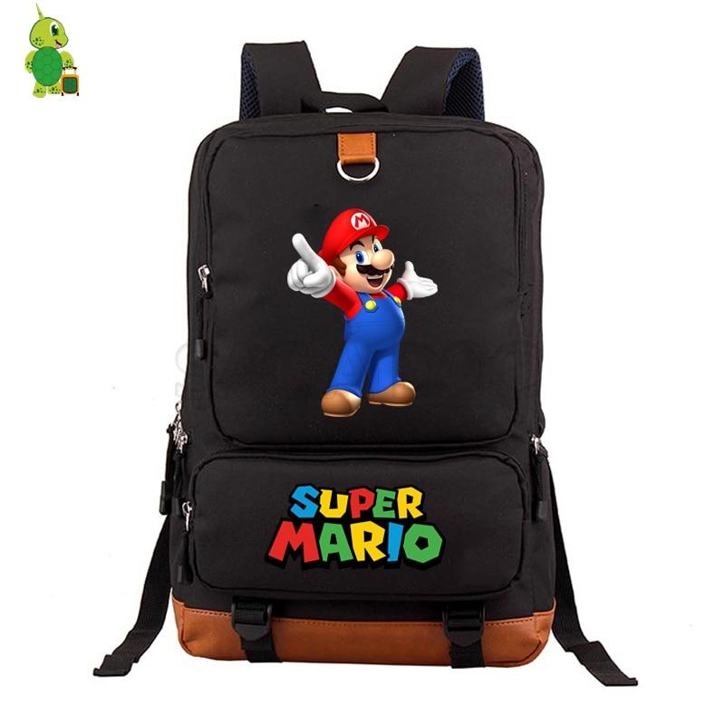 8b90569fffa3 Cartoon Super Mario Backpack Women Men School Bags for Teenage Boys Girls  Travel Shoulder Bags Daily