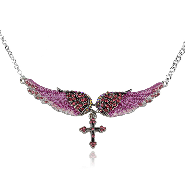 Angel Wing Cross Choker Necklace Guardian Women Biker Crystal