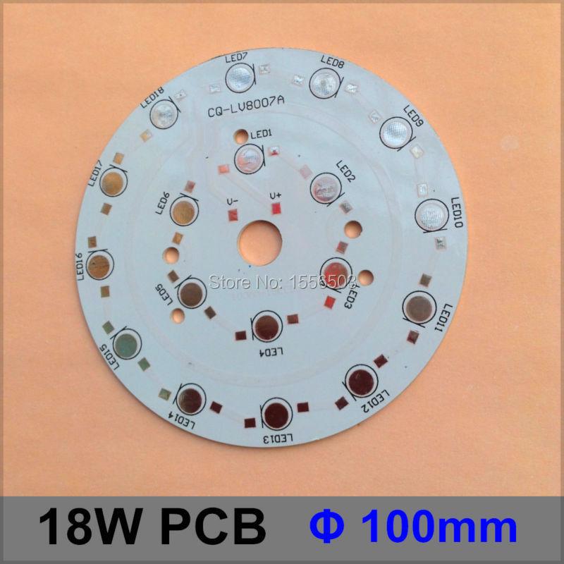 50 Pcs/lot LED Aluminum Base 100mm 18W Round Diameter LED High Power PCB LED Lamp Plate Circuit Base For 18W Board