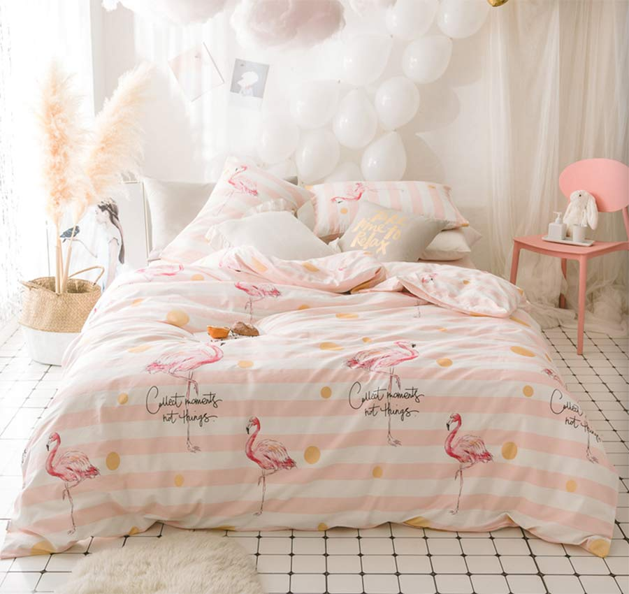 font b Cute b font flamingo bedding set teen kid girl twin full queen king
