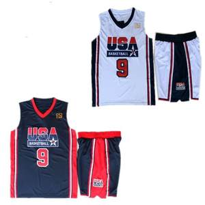 58f21dd7a623d6 1992 USA Dream Team Men s Jordan 9 Basketball Jersey Navy Blue White  Stitched