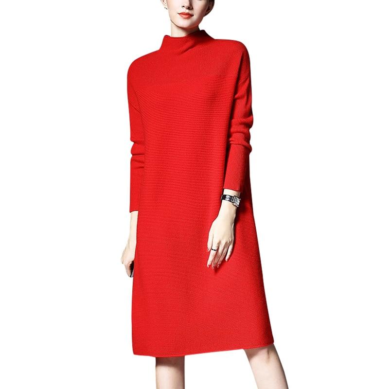 2018 Runway Autumn Winter Women Sweater Dress Fashion Turtleneck Knee Length Female Vintage Knitted Dress Vestidos Plus Size 5XL