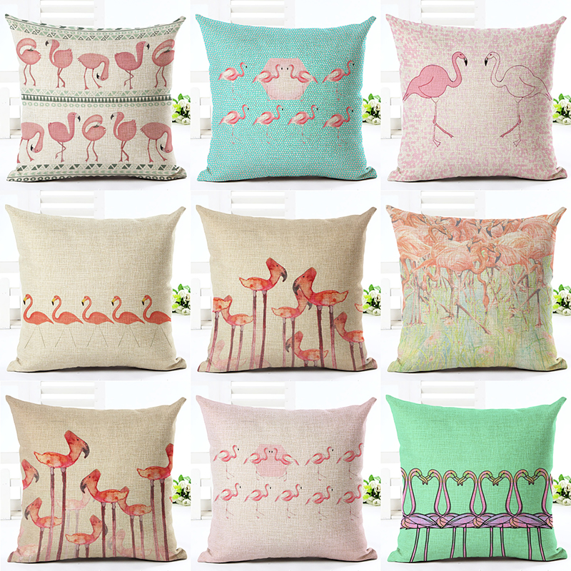 estilo europeo precioso flamingo impreso throw pillow moda decoracin almofadas funda de almohada cojines de asiento