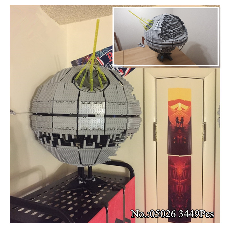 H&HXY IN STOCK 3449pcs  05026 Death star Building Block Bricks Toys Kits  Compatible with 10188 Child LE Gift PIN