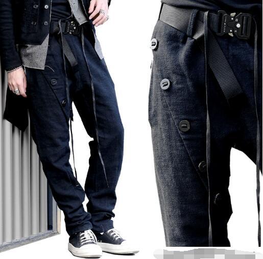 Black Asymmetrical Thick Hemp Leg - Closing Casual Pants For Men.     S-6XL!