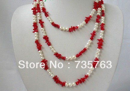 xiuli 0063 classic long 60″ 7mm round white freshwater pearls red coral necklace Chains Bridal Jewelry momen