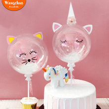 Cat Cupcake Topper Unicorn Cake Happy Birthday Party Decoration Transparent Balloon Kids Favors  Supplies