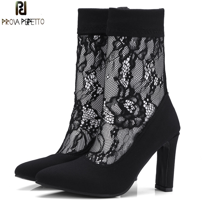 Prova Perfetto Sexy Lace Ankle Boots Square High Heels Sock Boots Women Pointed Toe Stretch Boots Short Boots Large Size 32-43 sexy women s short boots with square buckle and pointed toe design