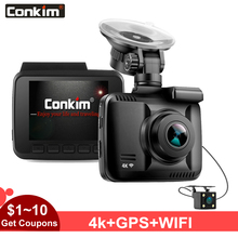 Conkim DVR 2 Cameras With GPS Wifi APP Dash Camera Ultra 4K Super HD Car Video Recorder Dual Lens 1080P 720P Cam GS63D