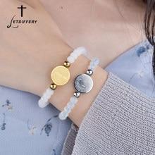 Letdiffery – Bracelets en acier inoxydable avec perles blanches en cristal, bijoux religieux, Saint bénisse, vente en gros
