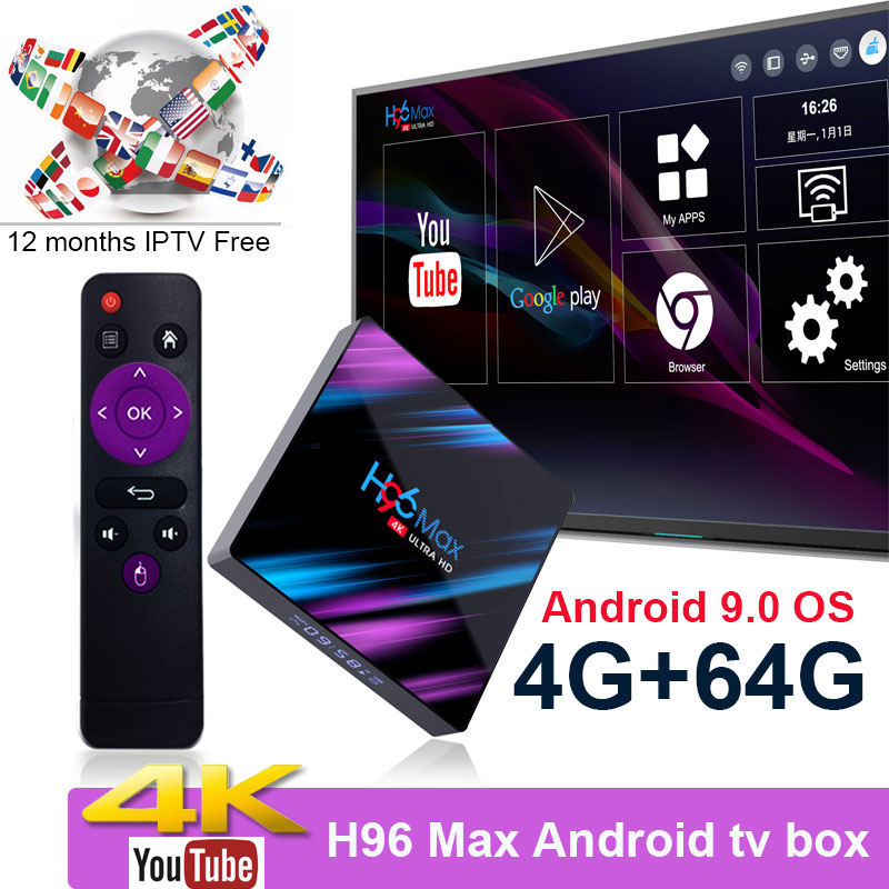 H96 MAX RK3318 Youtube 4K Android 9.0 Tv Box 4G 64G 5G Wifi 4K H.265 Pk RK3328Media Player Free Support One Year IPTV As Gift